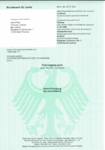 Führungszeugnis über Thomas Lindlmair, keine Eintragung