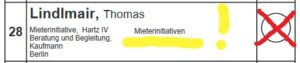 Einzelkandidat Platz 28, Lindlmair, Thomas, Mieterinitiative, Hartz IV Beratung und Begleitung, Kaufmann, Berlin; Mieterinitiativen