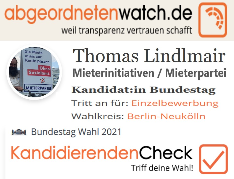 Link zum Abgeordnetenwatch für Thomas Lindlmair